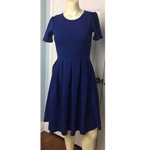 LuLaRoe Amelia Dress Solid Color Blue XS (2-4)